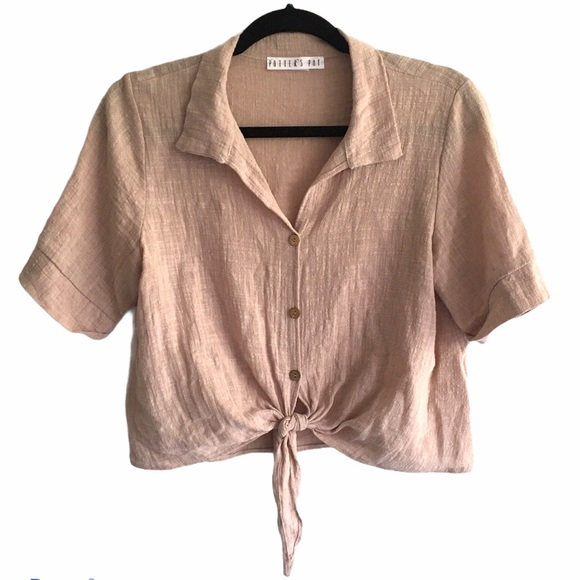 POTTERS POT Oversized Shirt Tie Waist Taupe Clay M